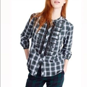 J CREW Plaid Blouse with Front Detail